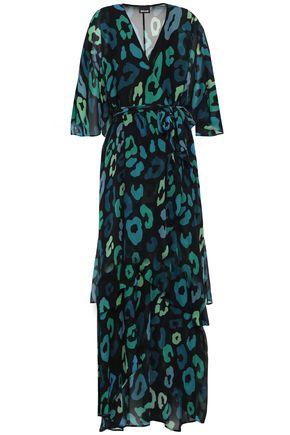 JUST CAVALLI Wrap-effect printed georgette midi dress
