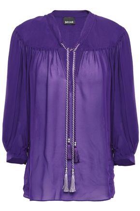 JUST CAVALLI Tasseled gathered georgette blouse