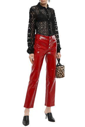 Just Cavalli Woman Fil Coupé Tulle-Paneled Macramé Lace Shirt Black