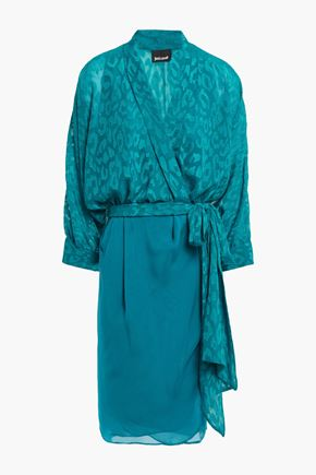 JUST CAVALLI Fil coupé crepe wrap dress