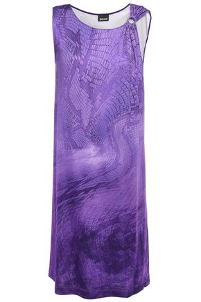JUST CAVALLI Ring-embellished snake-print stretch-jersey mini dress