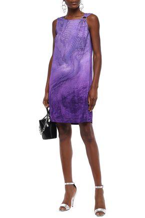 Just Cavalli Woman Ring-Embellished Snake-Print Stretch-Jersey Mini Dress Violet