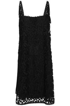 JUST CAVALLI Fringe-trimmed embroidered tulle dress