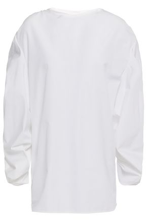 JIL SANDER Ruched cotton-poplin top