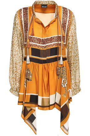 JUST CAVALLI Tasseled draped printed satin-twill blouse