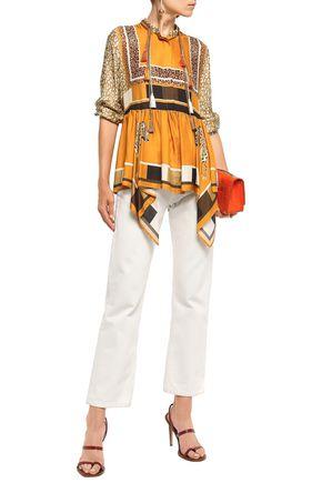 Just Cavalli Woman Tasseled Draped Printed Satin-Twill Blouse Saffron