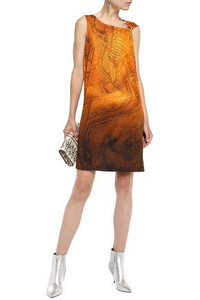 Just Cavalli Woman Ring-Embellished Snake-Print Stretch-Jersey Mini Dress Orange