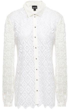 JUST CAVALLI Fil coupé tulle-paneled macramé lace shirt