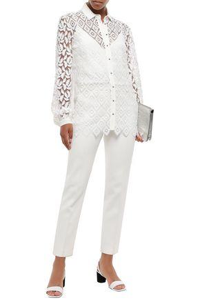 Just Cavalli Woman Fil Coupé Tulle-Paneled Macramé Lace Shirt White