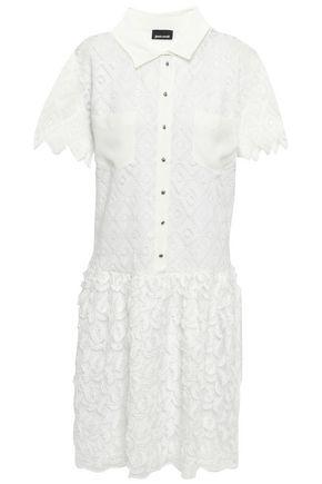 JUST CAVALLI فستان قصير من الشيفون مخيط بأسلوب فيل كوبيه ومن الكروشيه