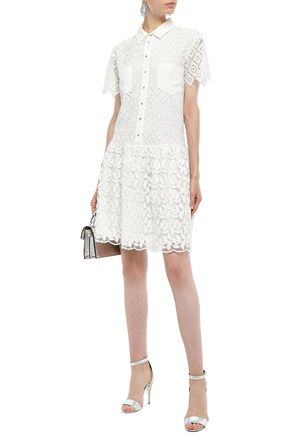 Just Cavalli Woman Crochet And Fil Coupé Chiffon Mini Dress White