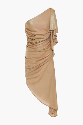 JUST CAVALLI One-shoulder draped metallic jersey dress