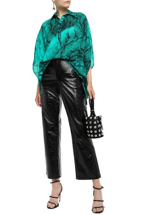 Just Cavalli Woman Draped Snake-Print Crepe Blouse Jade