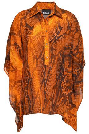 JUST CAVALLI Draped snake-print crepe blouse