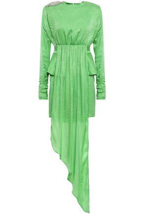 DODO BAR OR Grace crystal-embellished draped silk-jacquard peplum mini dress