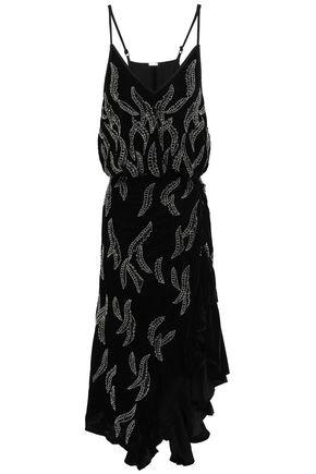 DODO BAR OR Embellished ruched velvet mini dress