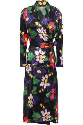 DODO BAR OR Satin-jacquard midi wrap dress