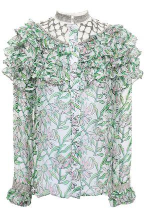 DODO BAR OR Crystal-embellished tiered georgette blouse