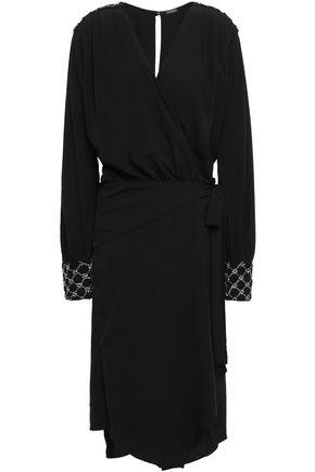 DODO BAR OR Crystal-embellished stretch-crepe wrap dress