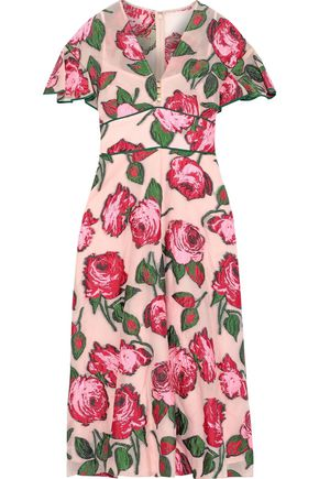 LELA ROSE Ruffle-trimmed fil coupé organza midi dress