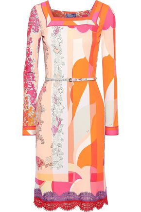 EMILIO PUCCI Belted lace-trimmed printed jersey dress