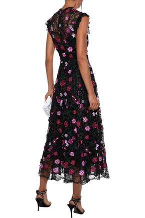 LELA ROSE Floral-appliquéd embroidered lace midi dress