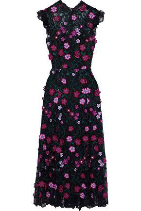 LELA ROSE Floral-appliquéd embroidered lace midi dress