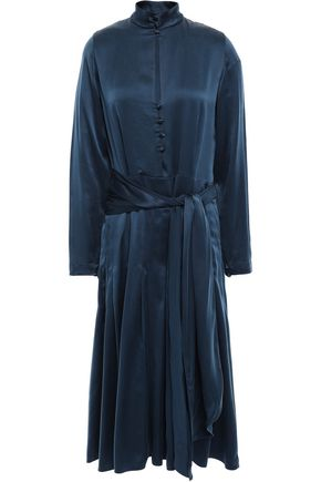 FORTE_FORTE Belted pleated washed-silk midi dress