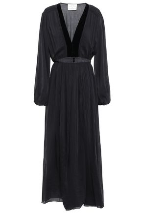 FORTE_FORTE Gathered velvet-trimmed cotton and silk-blend maxi dress