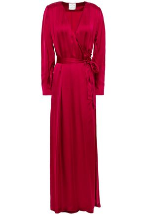 FORTE_FORTE Pleated satin-crepe maxi wrap dress