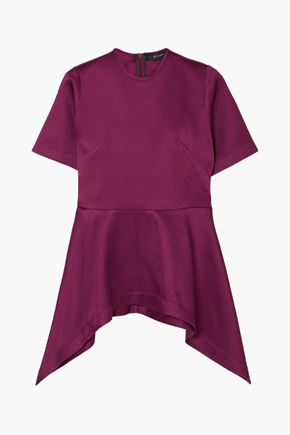 SID NEIGUM Bonded satin peplum top