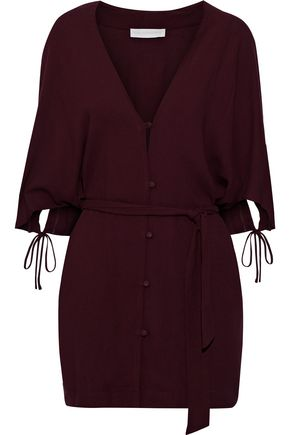 LES HÉROÏNES by VANESSA COCCHIARO The Gloria belted button-detailed washed-crepe tunic