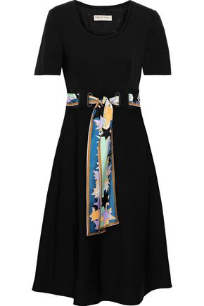 EMILIO PUCCI Belted silk-twill dress