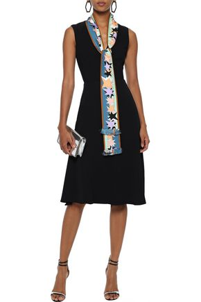 Emilio Pucci Dresses EMILIO PUCCI WOMAN TIE-NECK PRINTED SATIN TWILL-TRIMMED CREPE DRESS BLACK