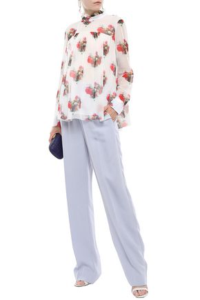 Adam Lippes Tops ADAM LIPPES WOMAN RUFFLE-TRIMMED GATHERED SILK-GEORGETTE BLOUSE WHITE