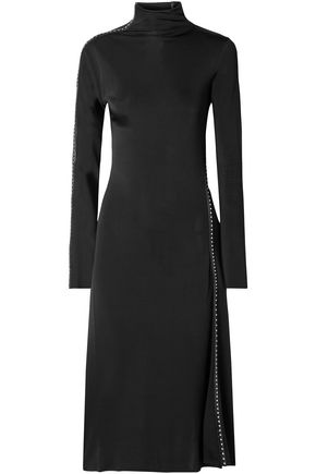 HELMUT LANG Studded faux leather-trimmed satin-jersey midi dress