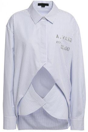 ALEXANDER WANG Embellished cutout cotton-blend poplin shirt