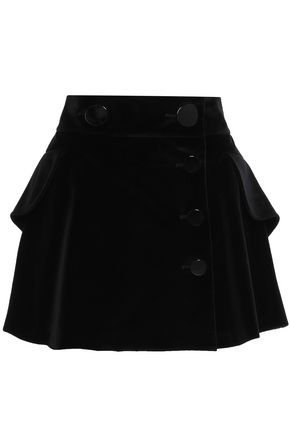 ALEXANDER WANG Tiered velvet mini skirt