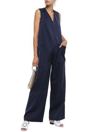 Tibi Woman Satin-crepe Wide-leg Jumpsuit Navy