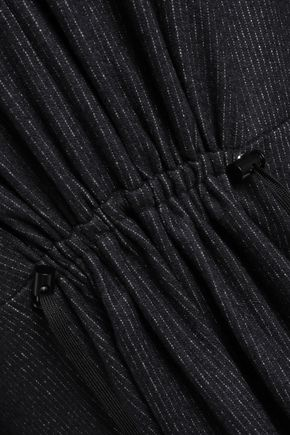 TIBI Cutout pinstriped wool and cotton-blend midi dress