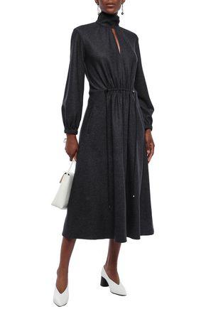 Tibi Woman Cutout Pinstriped Wool And Cotton-Blend Midi Dress Midnight Blue