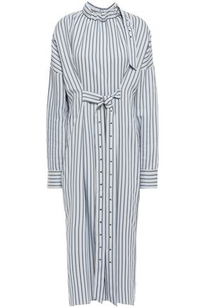 TIBI Tie-front striped jacquard midi shirt dress