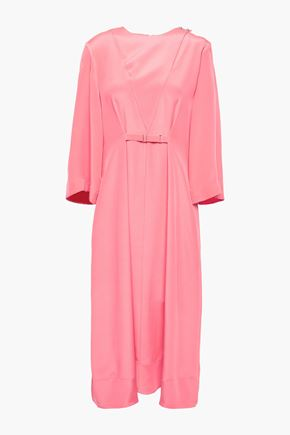TIBI Gathered silk crepe de chine midi dress