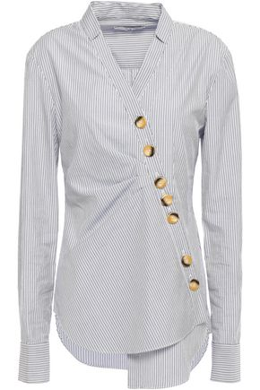 TIBI Asymmetric cotton-poplin shirt