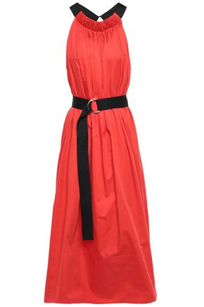TIBI Belted cotton-poplin halterneck midi dress