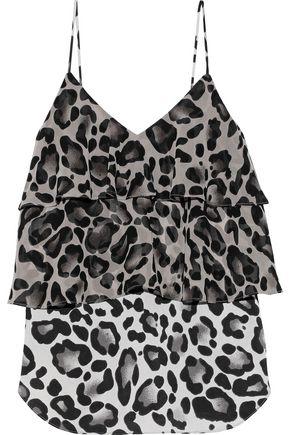 GOEN.J Tiered leopard-print chiffon-paneled sateen camisole