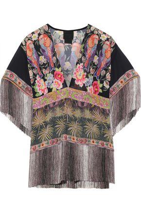 ANNA SUI Fringe-trimmed floral-print chiffon blouse