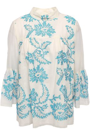 Embroidered Cotton Gauze Blouse by Anna Sui