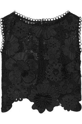 ANNA SUI Cropped floral-appliquéd guipure lace top