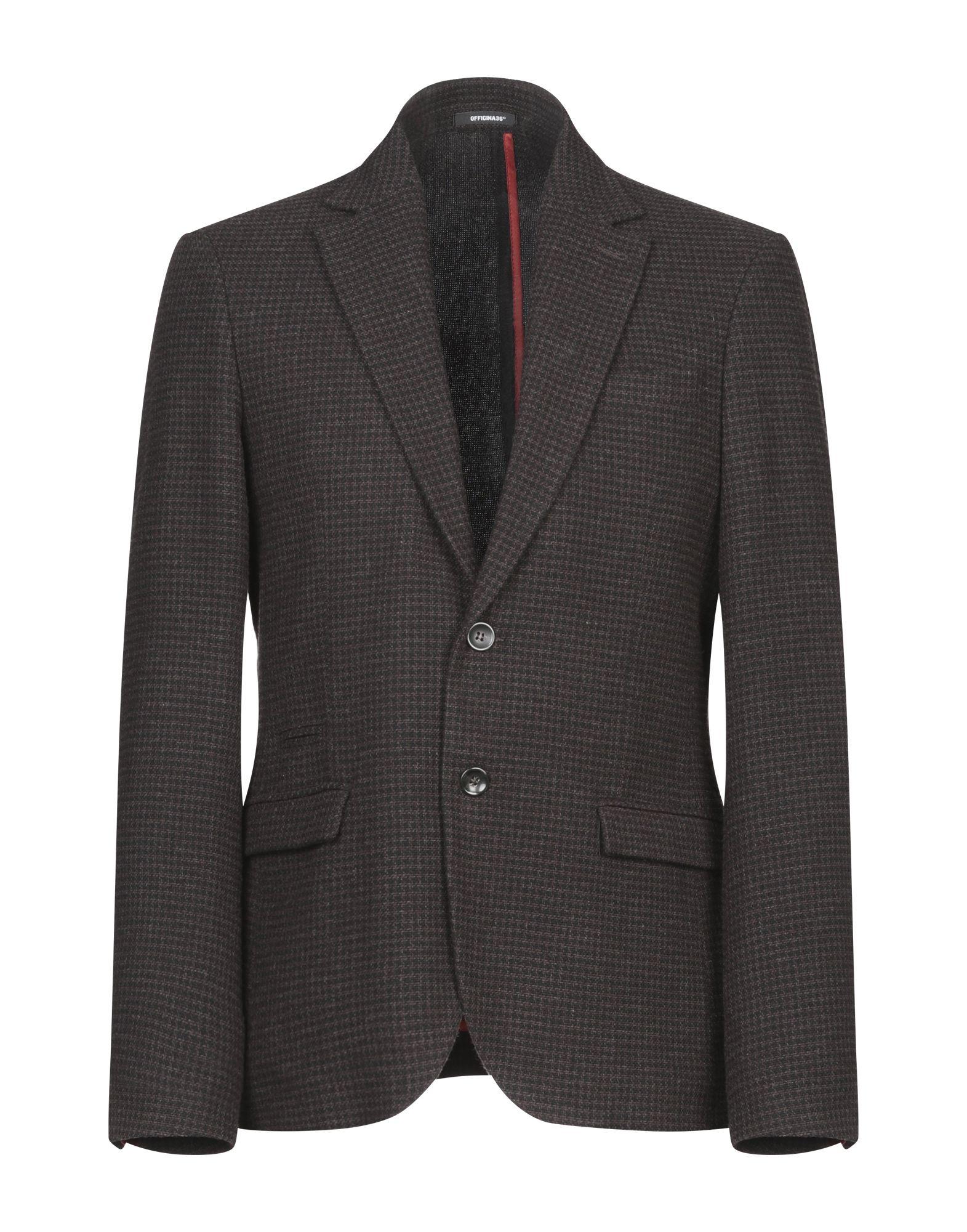 《期間限定 セール開催中》OFFICINA 36 メンズ テーラードジャケット ブラック 48 ウール 48% / コットン 46% / ナイロン 6%